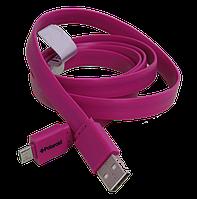 Плоский силиконовый кабель USB - micro USB, 1 метр, ширина 1,1см, фото 1