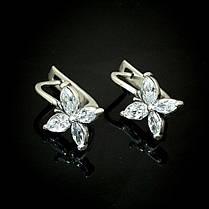 Серебряные серьги с камнями Мотыльки, фото 2