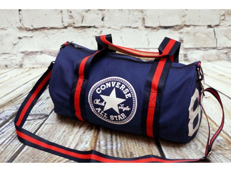 "Спортивная сумка ""баллон"" Converse, Конверс синяя ( код: IBS055Z )"