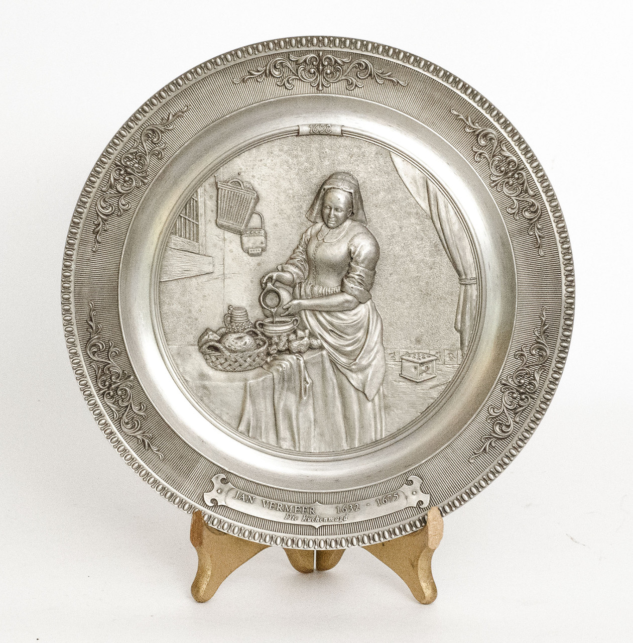 Тарелка настенная, олово, Германия, Молочница, Ян Вермер