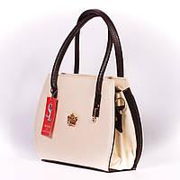 Бежевая полукруглая сумочка женская коричневые вставки