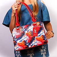 Женская лаковая сумка-портфель цветная