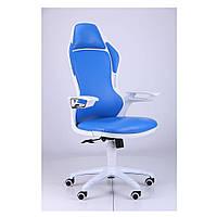 Кресло Рэйсер (Racer) - к/з синий,каркас белый