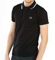 Мужская футболка polo Fred Perry с воротником черная (мужские футболки, молодежные, стильные, поло)