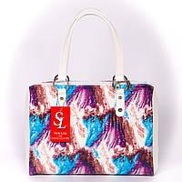 Цветная женская сумка лаковая классическая прямоугольная каркасная