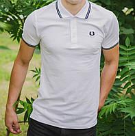 Мужская футболка polo Fred Perry с воротником белая (мужские футболки, молодежные, стильные, поло)