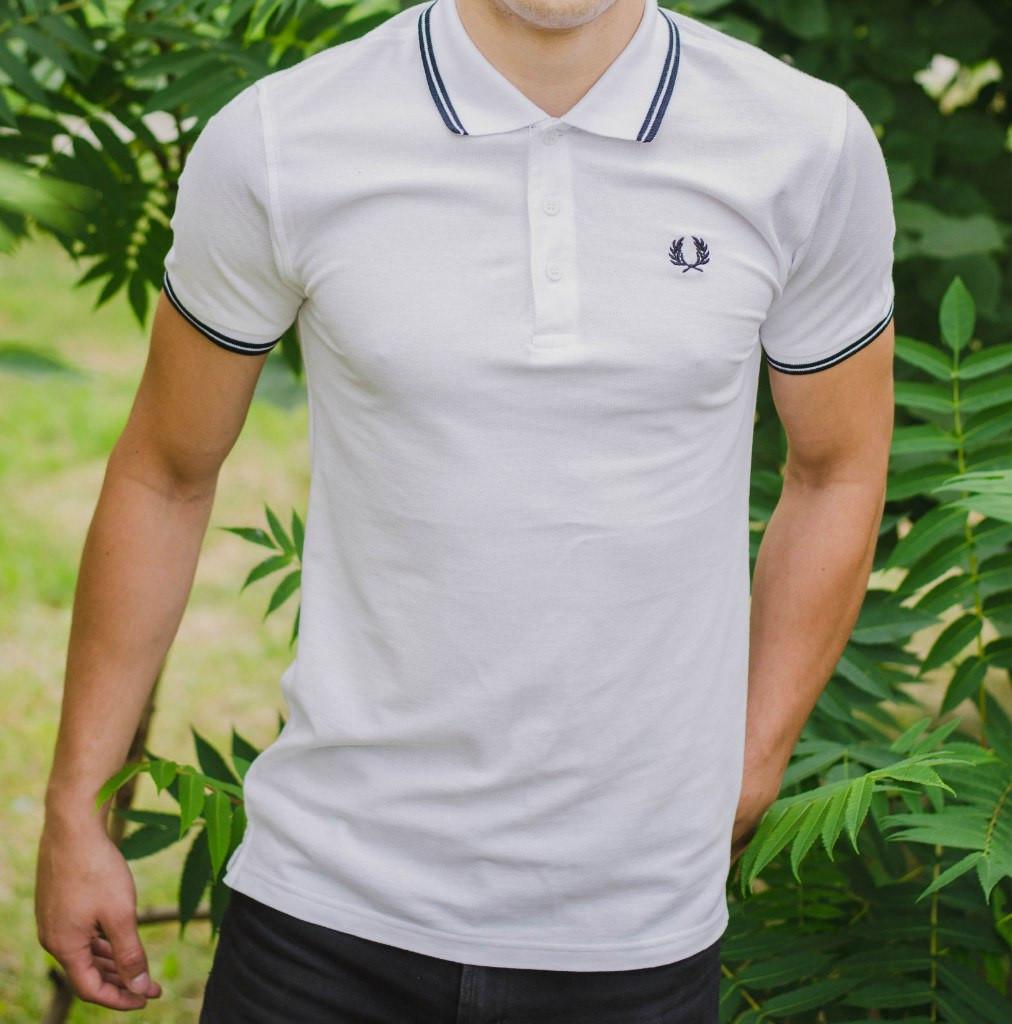 8fbebee42e2 Мужская футболка поло реплика Fred Perry с воротником белая (мужские  футболки