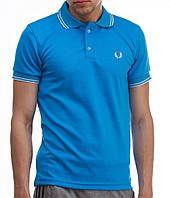 Мужская футболка polo Fred Perry с воротником голубая (мужские футболки, молодежные, стильные, поло)