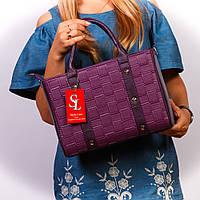Фиолетовая женская сумка коробка матовая стеганая