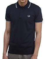 Мужская футболка polo Fred Perry с воротником темно-синяя, (мужские футболки, молодежные, стильные, поло)