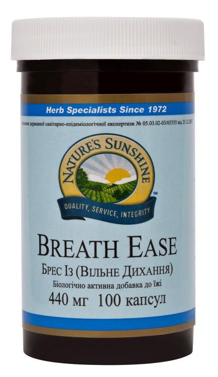 """Препарат """"Breath Ease  Легкость дыхания""""-Уменьшает кашель и першение в горле при простуде и бронхите (100капс)"""