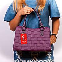 Фиолетовая женская сумка трапеция плетеная каркасная