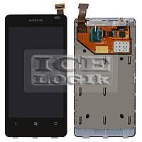 Дисплей для мобильного телефона Nokia 800 Lumia, черный, с сенсорным экраном, с рамкой