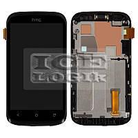 Дисплей для мобильного телефона HTC T328w Desire V, черный, с передней панелью, с сенсорным экраном