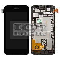 Дисплей для мобильного телефона Nokia 530 Lumia, черный, с рамкой, с сенсорным экраном