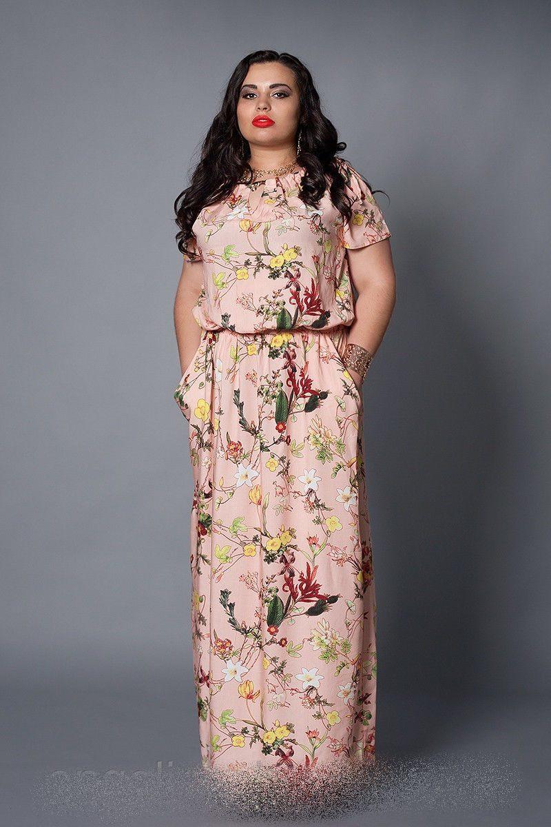 Женское платье  розовые цветы