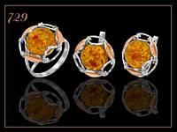 Арт 729 Комплект серебряный женский с золотом и янтарем