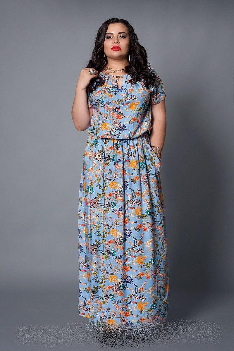 Женское платье   голубая бирюза цветы