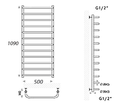 Полотенцесушитель электрический Mario Heat Point-I Стандарт 1090 x 530 /150, фото 2