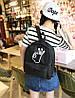 Модный молодежный черный рюкзак ОК, фото 3
