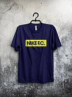 Стильная спортивная мужская футболка Nike F.C темно-синяя