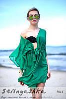 Женская пляжная короткая накидка на купальник зеленая