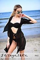 Женская пляжная короткая накидка на купальник черная, фото 1