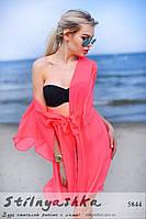 Женская пляжная короткая накидка на купальник коралл, фото 1