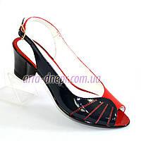 Босоножки лаковые женские на каблуке, сине-красные, фото 1