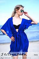Женская пляжная короткая накидка на купальник индиго, фото 1