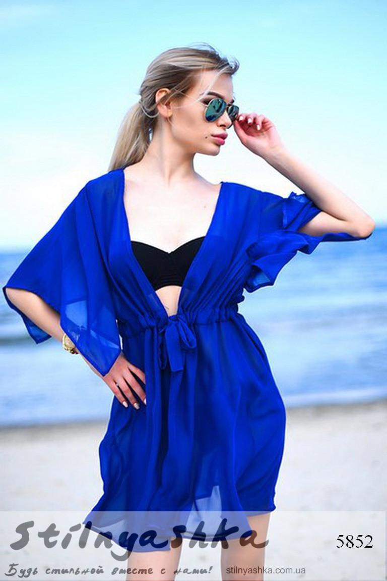 58416023a4240 Женская пляжная короткая накидка на купальник индиго - Интернет-магазин