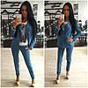 Джинсовый костюм свободный пиджак+штаны, фото 6