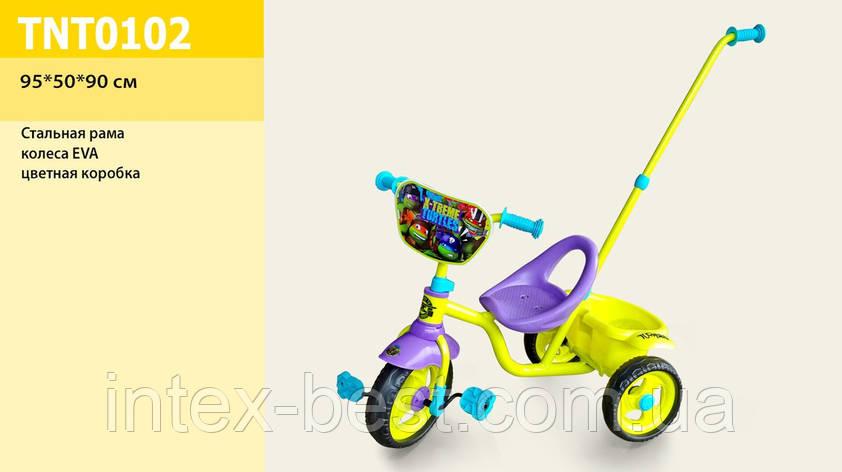 Детский трехколесный велосипед TNT0102, Черепашки-ниндзя с ручкой колеса EVA, фото 2