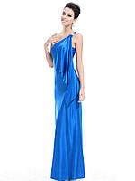 Ассиметричное синее платье с брошью , S
