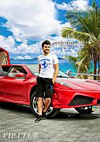 Мужской спортивный костюм Ferrari шорты с футболкой
