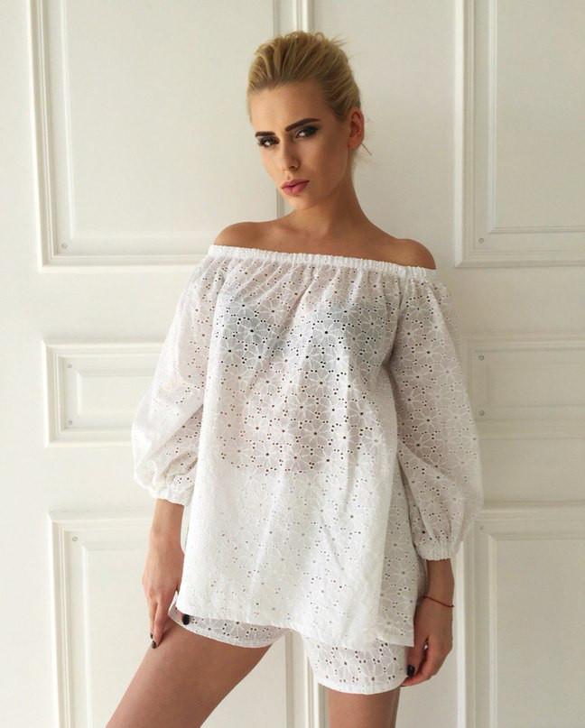 Костюм из прошвы шорты+блуза