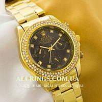 Кварцевые женские наручные часы Rolex Cosmograph Daytona gold black, фото 1