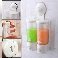 Дозатор для жидкого мыла на 2 емкости Double Soap Dispenser Super Suction