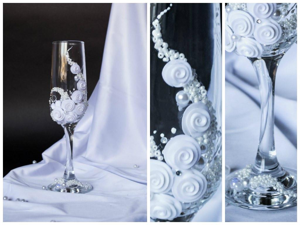 """Свадебные бокалы """"Белая ветка цветов"""""""