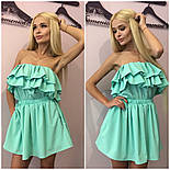Женский стильный мятный комбинезон шортами и двойным воланом + (Большие размеры), фото 3