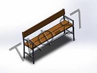 Скамейка №7 со спинкой и поручнем 2м под бетонировку