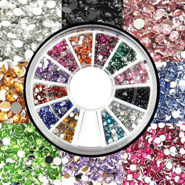 Стразы в карусели для дизайна ногтей цветные
