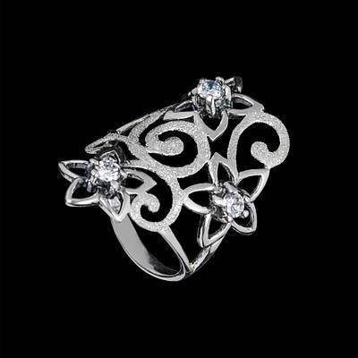Серебряное кольцо Лаванда 34059