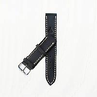 Кожаный черный с бежевой строчкой ремешок для часов