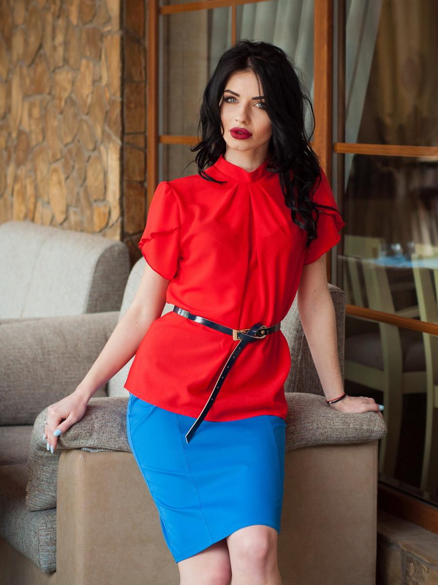 Красная шифоновая блуза