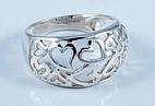 Серебряное кольцо Сердца без камней 34076
