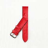 Кожаный красный ремешок для часов