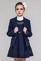 Школьный костюм 2-ка для девочки.Пиджак сарафан с перфорацией.