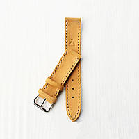 Кожаный желтый ремешок для часов