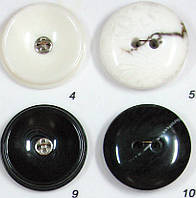 Пластиковая пуговица пальтовая и шубная прошивная черная и белая пальтовая на 2 и 4 дырочки диаметр 34 мм